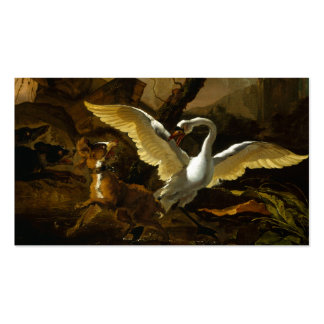 Swan Enraged by Dogs painting by Abraham Hondius Business Card