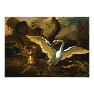 Swan Enraged by Dogs painting by Abraham Hondius Card
