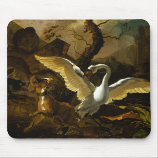 Swan Enraged by Dogs painting by Abraham Hondius Mouse Pad