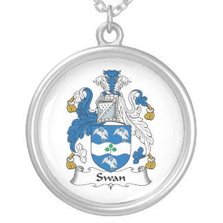 Swan Family Crest Personalized Necklace