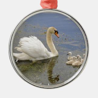 Swan Family Metal Ornament