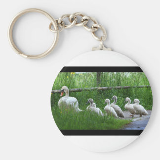Swan Family Walking Keychain