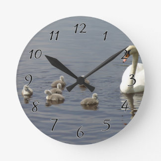 Swan Family with mom and ducklings or cygnets Round Clock