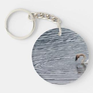 Swan Feeding Keychain