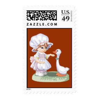 Swan Girl Stamp