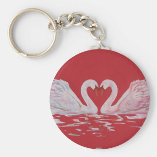 Swan Heart Basic Round Button Keychain