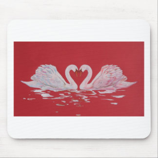 Swan Heart Mouse Pad