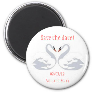 Swan heart save the date magnet