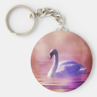 Swan in colorful moonlight keychain