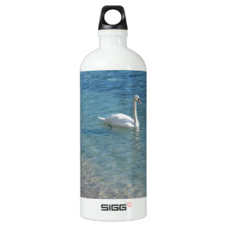 Swan in crystal clear shallow sea water aluminum water bottle