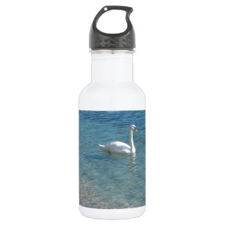 Swan in crystal clear shallow sea water water bottle