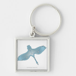 Swan in Flight Silver-Colored Square Keychain
