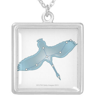 Swan in Flight Square Pendant Necklace
