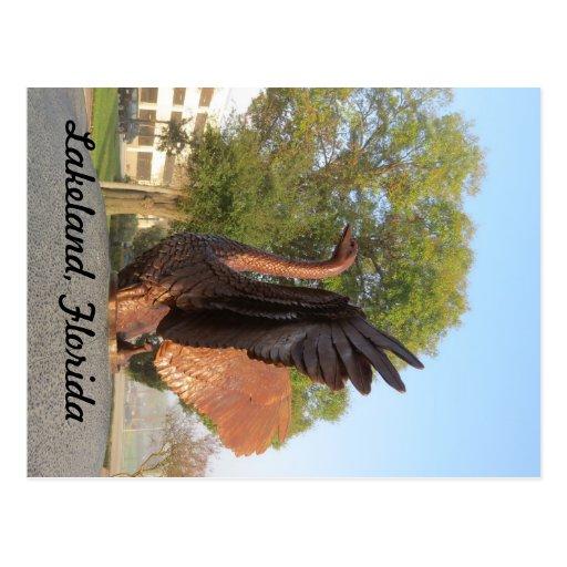 Swan in Flight Statue Lakeland, Florida Post Card