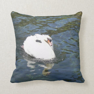 swan in the lake throw pillow