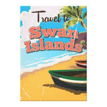 Swan Islands vintage travel poster. Canvas Print