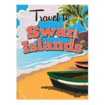 Swan Islands vintage travel poster. Postcard