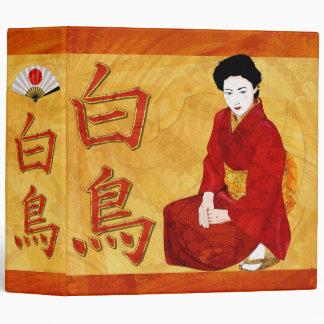 Swan Japanese Geisha Folk Art Binders
