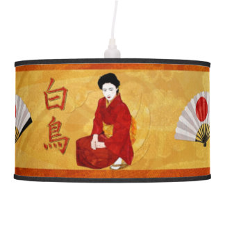 Swan Japanese Geisha Folk Art Ceiling Lamps