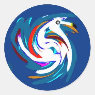 swan.jpg pegatina redonda