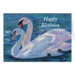Swan Lake aceo Birthday Card