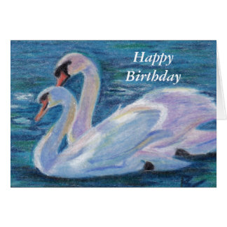 Swan Lake aceo Birthday Card