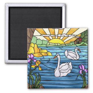 Swan Lake Antique Stained Glass Design Magnet