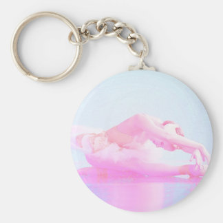 Swan Lake Basic Round Button Keychain