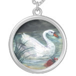 Swan Lake Round Pendant Necklace