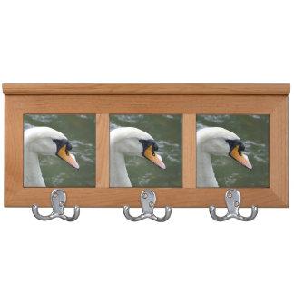 Swan looking right head view bird image coat racks
