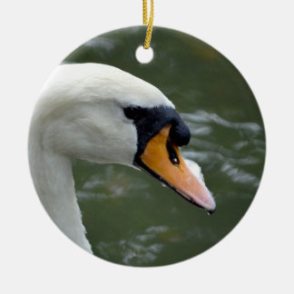 Swan looking right head view bird image christmas tree ornaments