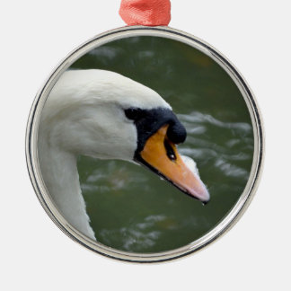Swan looking right head view bird image christmas tree ornament