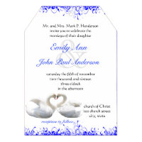Swan Love Birds  Wedding Invitations