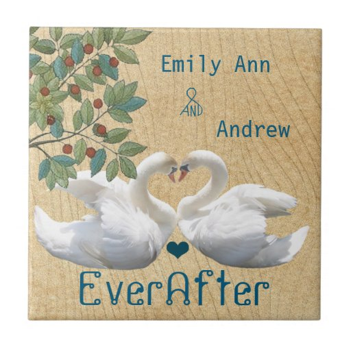 Swan Love Birds Wood Grain Ever After Anniversary Small Square Tile