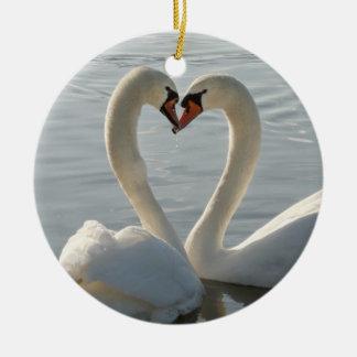 Swan Love Ceramic Ornament