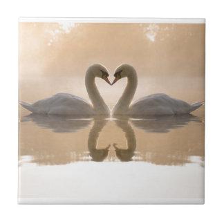Swan Love Ceramic Tile