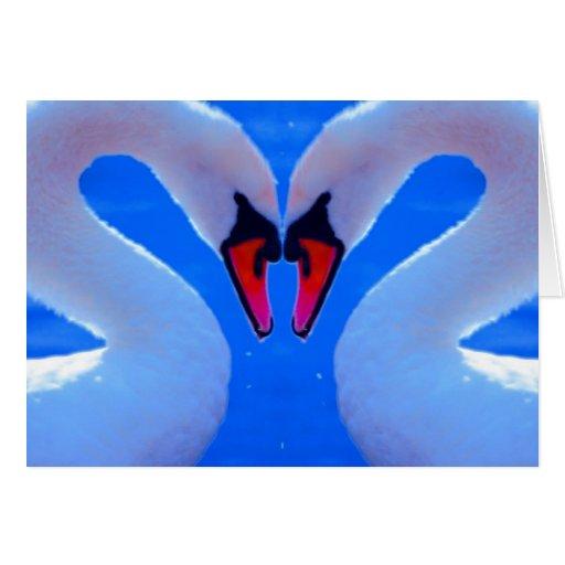 Swan Love, Romantic Heart Shaped Necks Card