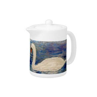 Swan on a Lake Art Teapot