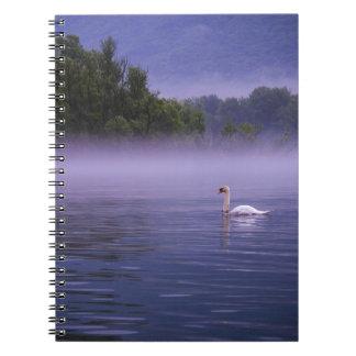 Swan on lake spiral notebook