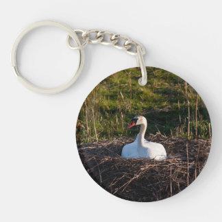 Swan on nest keychain