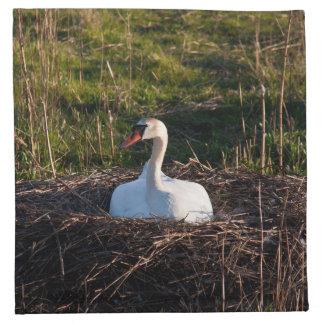 Swan on nest cloth napkins