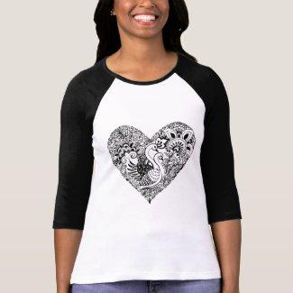 Swan Pair: Art in Black T-Shirt
