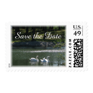 Swan Pair Save the Date Postage Stamps