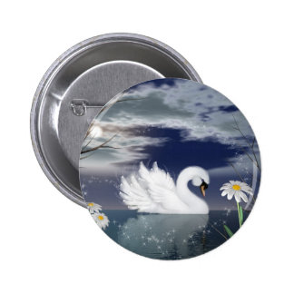 swan pin badge - enchanted swan digitally painted
