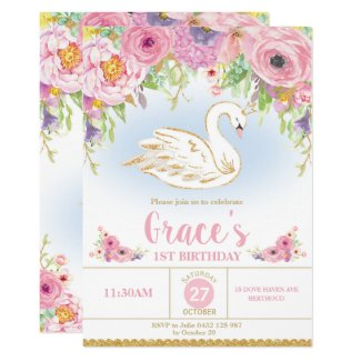 Swan Princess Birthday Invitation Floral Girl