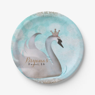 Swan Princess Glitter Fairy Tale Birthday Party Paper Plate