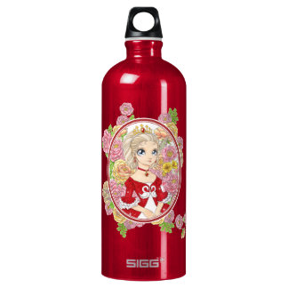 Swan Princess (red) Aluminum Water Bottle