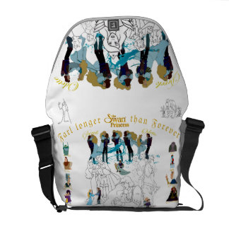 Swan Princess Sketch Messenger Bag (White)