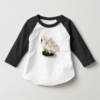 Swan Print on Toddler American Apparel 3/4 Sleeve T-Shirt