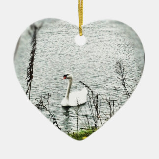 Swan riding out hurricane Sandy. #Sandy Ceramic Ornament